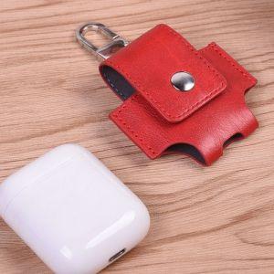WeWoo Etui Casque / Ecouteurs rouge pour Apple AirPods Creative sans fil Bluetooth écouteurs PU en cuir sac de protection Anti perte de rangement avec crochet n'est pas inclus