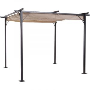 Outsunny Pergola aluminium 3L x 3l x 2,30H m pergola rétractable structure alu + toile polyester haute densité 180 g/m² incluse beige