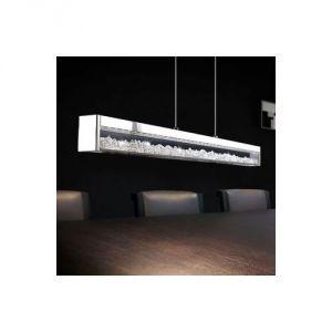Eglo Cardito - Suspension barre LED en métal et verre avec cristal L70 cm