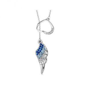Blue Pearls Cry F216 L - Collier Plume d'ange en Cristal Swarovski Element