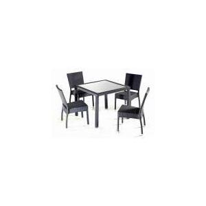 Wood-en-stock Table de jardin en résine tressée avec 4 chaises