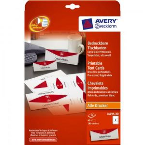 Image de Avery-Zweckform L4795-20 - 40 chevalets imprimables, format 180 x 60 mm (20 feuilles / cdt)