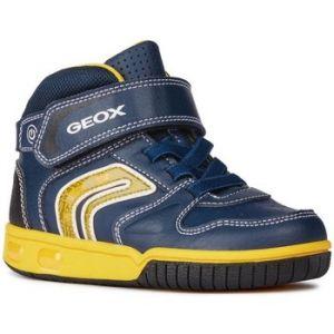Geox Jr Gregg B, Baskets Hautes garçon, Bleu (Navy/Yellow C4054), 33 EU