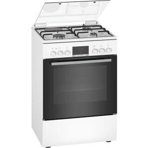 Bosch HXR39IG20 - Cuisinière mixte - 3 foyers gaz et 1 électrique - Four multifonction full ecoclean - 66 L - A - L 60 cm - Blanc
