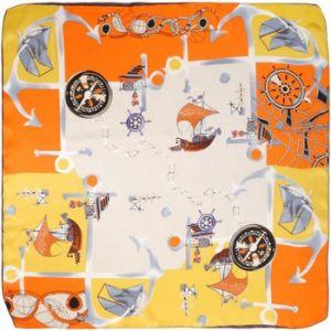Allée du foulard Echarpe Carré de soie Kalam orange / jaune orange - Taille Unique