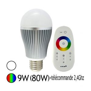 Image de Vision-El Ampoule Led 9W (80W) E27 RGB + Blanc jour avec télécommande 2,4Ghz