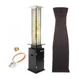 Empasa Parasol Chauffant au Gaz ESKINADO - Vraie flamme - Inclus détendeur Noir Housse noire