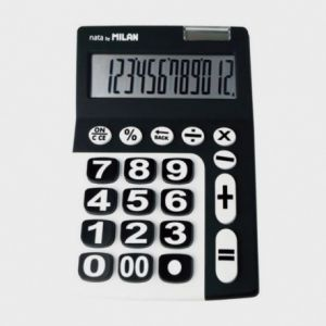 Milan 150912KBL%u2013Calculatrice à 12chiffres, grandes touches, noir et blanc