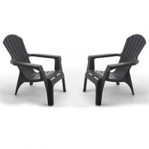 Wilsa FAUTEUIL DE JARDIN GRIS ANTHRACITE DESIGN - ADIRONDACK 2 fauteuils