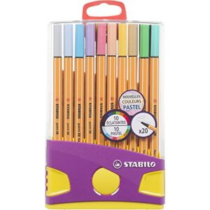 Stabilo Point 88 - ColorParade de 20 stylos-feutres pointe fine - Coloris assortis dont 10 pastel