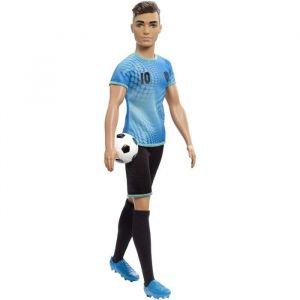 Mattel Ken Métiers poupée joueur de football avec ballon, jouet pour enfant, FXP02
