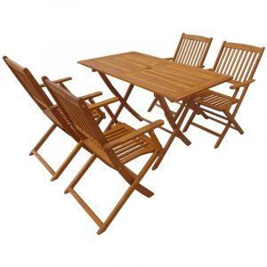 VidaXL Jeu de salle à manger d'extérieur pliable 5 pcs bois d'acacia