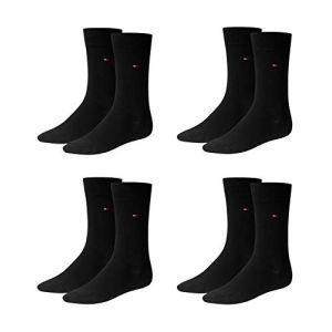 Tommy Hilfiger Lot de 2 paires de chaussettes opaques classiques pour hommes - noir - 43