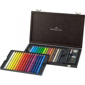 Faber-Castell Crayon de couleur aquarellable Magnus Coffret bois 24 couleurs