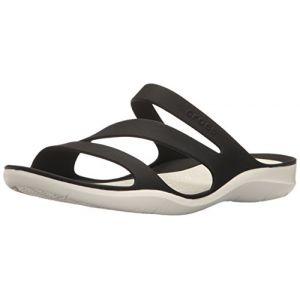 Crocs Swiftwater Sandal W, Sandales pour Femme Noir/Blanc, 38-39 EU
