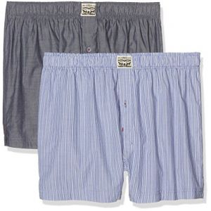 Levi's 300ls Striped Chambray Woven Boxer 2 Pack - Blue Jeans - S
