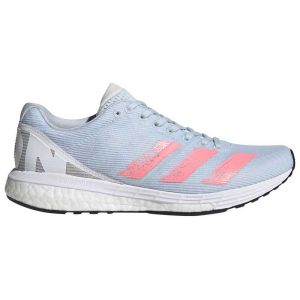 Adidas Adizero Boston 8 W, Chaussures de Running Compétition Femme, Sky Tint/Light Flash Red/FTWR White, 40 EU