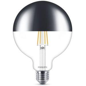Philips Ampoule LED Globe Filament Calotte Argentée E27 8W Equivalent 50W Claire Blanc chaud Compatible Variateur