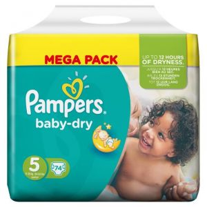 Pampers Baby Dry taille 5 Junior 11-25 kg - Mega Pack 74 couches