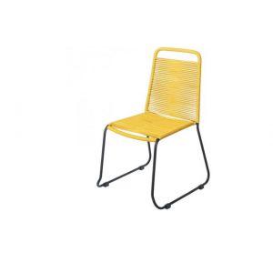 Declikdeco Chaise de Jardin Empilable Corde Jaune ANDRE