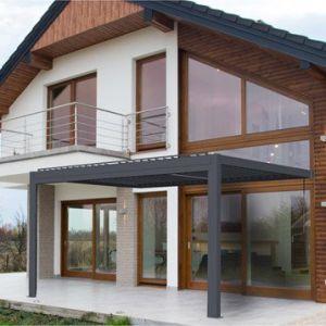 Pergola aluminium adossée 18 m² Cadix gris anthracite
