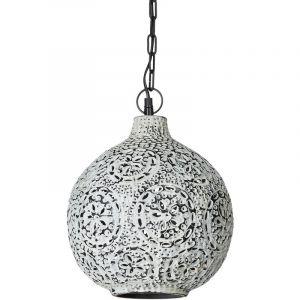Relaxdays Lampe à suspension Patina style shabby chic oriental H x D: 145,5 x 27,5 cm luminaire plafond chaîne métal abat-jour boule motifs feuilles fleurs moucharabieh style industriel, blanc