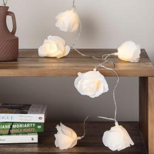 Lights4Fun Guirlande Lumineuse 20 Grandes Fleurs Blanches pour Intérieur à Piles