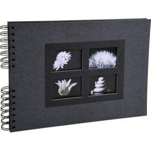 Exacompta 16241E - Album photos Passion 32x22 cm, 50p. noires/100 photos, reliure à spirales, noir