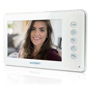 """Avidsen Moniteur vidéo 112244 supplémentaire 7"""" 2 fils ultraplat pour visiophone Ylva - Ecran LCD 7?? - Ultra plat - Volume et contraste réglable - Jusqu?à 10 sonneries - Interphone interactive."""