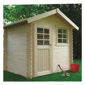 Solid LAVAL 3,74m², Toiture Toit standard (roofing), Plancher Oui, Abri bûches Oui, Armoire adossée 1 porte, Jardinière Oui