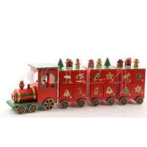 Calendrier de l'Avent train en bois avec 3 wagons