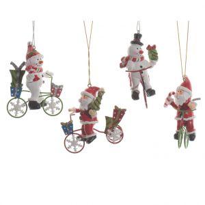 Figurine à vélo Père Noël ou bonhomme de neige 7,5x4,5x8 cm