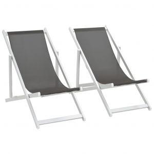 VidaXL Chaises de plage pliables 2 pcs Gris Aluminium et textilène