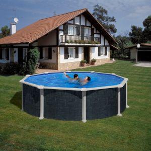 Gre KITPR458NRT - Piscine Rattan ronde hors sol aspect bois 460 x 132 cm