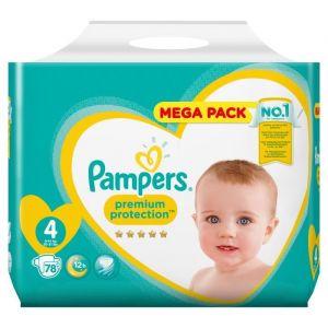 Pampers Premium Protection Taille 4 - 9 à 14 kg, 78 Couches - Mega Pack - Offrez une protection imbattable à la peau de votre bébé.