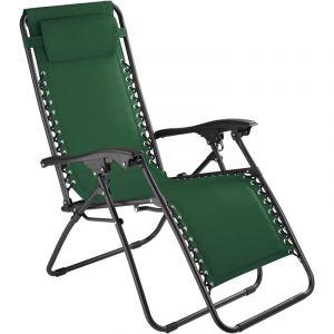 TecTake Chaise Longue de Jardin, Fauteuil de Jardin, Bain de Soleil Transat, Chaise de Camping Pliante 63 cm x 87,5 cm x 111 cm Vert