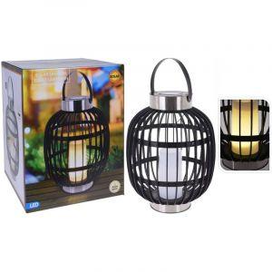 Progarden Lampe solaire à LED d'extérieur avec bougie Noir 35 cm