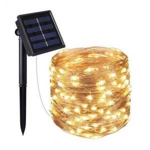 L I JARDIN Guirlande l ineuse solaire Micro LED Skinny Solar 100 LED 1200 cm cuivre