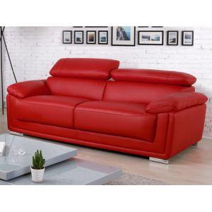 Canapé 3 places cuir de vachette MISHKA - Rouge