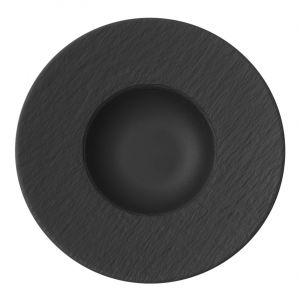 Villeroy & Boch Manufacture Rock Assiette à pâtes, structuré vaisselle en haute qualité premium en gris, 29 cm Pâtes Bol, Porcelaine, Blanc, 28,5 x 28,5 x 5 cm