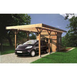 Solid Carport avec remise bois Lyford / toit plat / 11.26 m²