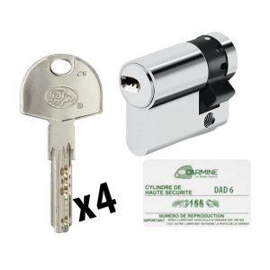 Bricorama Demi Cylindre de porte 30 x 10 mm 4 clés avec carte de reproduction sécurité