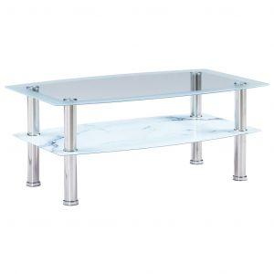 VidaXL Table basse à l'aspect du marbre Blanc 100x60x42cm Verre trempé