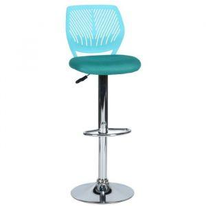 CARNATION BS Tabouret de bar turquoise en métal chromé - Revetement maille turquoise - Contemporain - L 42 x P 38 cm - Métal chromé - Revêtement maille turquoise - Assise L 38 x P 40 cm