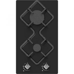 Hudson HDG 2 VN - Table de cuisson gaz domino - 2 foyers - L 30 cm - Revêtement verre - Noir