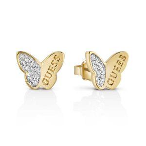 Guess Boucles d'oreilles en métal ornées de cristaux - blanc