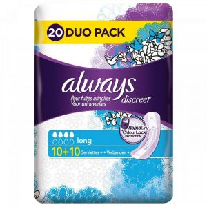 Always DISCREET - 20 serviettes Long pour Fuites Urinaires et Incontinence