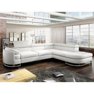 Canapé d'angle convertible en simili MYSEN Blanc Angle droit