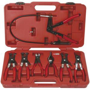 KS Tools 115.1055 - Coffret de pinces spéciales et colliers clip 7 pièces