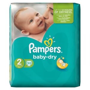 Pampers Baby Dry taille 2 Mini 3-6 kg - 33 couches